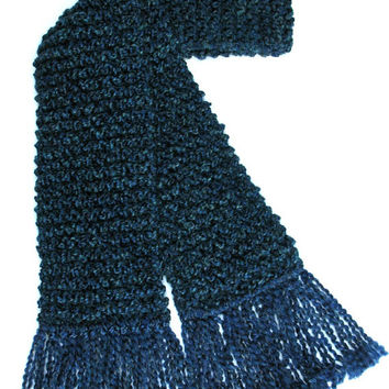 Navy Blue Scarf Extra Long Men Women Chunky Hand Knit Winter Scarf 10 ft long