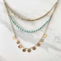 Puerto Vallarta Turquoise & Gold Layer Necklace