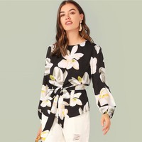 Floral Print Curved Hem Self Belted Blouse Bishop Sleeve Elegant Belted  Round Neck Blouse