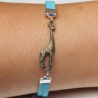 Unisex simple fashion ancient bronze Giraffe leather braided bracelet--blue wax rope braided bracelet