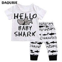 Newborn Baby Boy Clothes 100% Cotton Short sleeve T-Shirt+Pants shark patte Infant Baby Clothing Sets Kids Children Costume