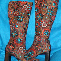 BOOTS Southwestern Boot Women Boots CowBoy Boots Gypsy Boho Gypsy Bohemian OOAK Restyled Fabric Covered Boot In Southwestern Jewel Design