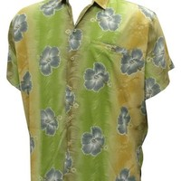 La Leela Men's Grey Color Floral And Self Printed Beach Hawaiian Shirt