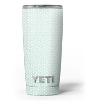 The Mint and White Micro Polka Dots - Skin Decal Vinyl Wrap Kit compatible with the Yeti Rambler Cooler Tumbler Cups
