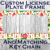 Custom Monogrammed Personalized License Plate + Matching Key Chain. Cute Tropical Palm Tree Pineapple Vanity Customized Car Tag #3068