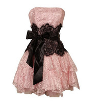 A-line Strapless Sleeveless Short / Mini Satin Lace Bridesmaid Dress With Sashes Free Shipping