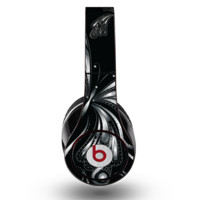 The Vibrant Black & Silver Butterfly Outline Skin for the Original Beats by Dre Studio Headphones