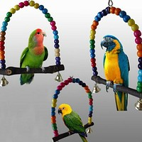 Colorful Parrot Swing Bird Cage Toys Cockatiel Budgie Lovebird Woodens Birds Parrots Swings Toy Wood Papegaaien Speelgoed