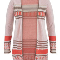 Plus Size - Tunic Cardigan With Side Slits - Multi