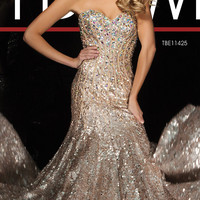 Long Strapless Sweetheart Sequin Gown