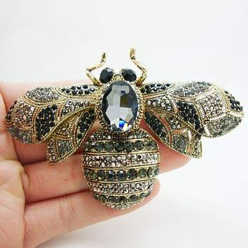 Unique Black Bee Brooch Rhinestone Crystal Insect Woman Brooches Pin