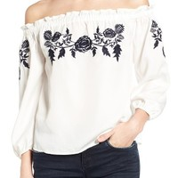 Tinsel Embroidered Off the Shoulder Top | Nordstrom