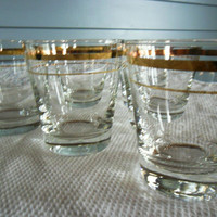 Libbey Juice Glasses Set of 6 Gold Trim Vintage 1950s from Amelies Farmhouse