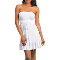 Strapless Ruffle Hem Dress in White