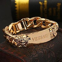 Versace classic Medusa fashion men and women personality thick chain bracelet