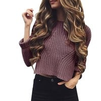 Women Autumn Winter Round Neck Casual Long Sleeve knitting Tops Blouse breathable Sexy Female Pullovers Vetement Femme #1