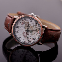 Unisex Vintage World Map Pattern Leather Strap Band Watch Brown + Gift Box