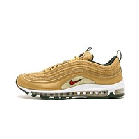 NIKE AIR MAX 97 Metallic Gold Breathable Men's Running Shoes Sports Sneakers classic 3M Reflective
