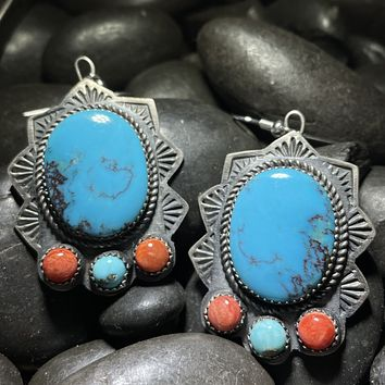 Turquoise & Orange Spiny French Hoop Genuine Earring