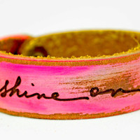 Artist's Script SHINE ON light hot pink Petite by LeatherCoutureLV