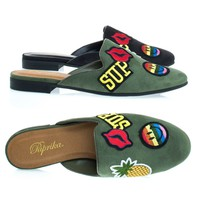 Zayn Lt-Khaki By Paprika, Low Chunky Block Heel Mule w Emoji Embroidered Patches w Pineapple & Smile