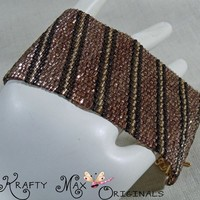 Brown and Golden Stripped Handmade Beadwoven Bracelet/Cuff