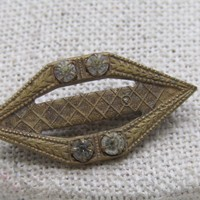 Vintage Early 1900's Brooch, Brass, with Rhinestones, C-Clasp, 1.25""