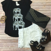Studded Elephant Tee: Black