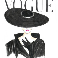 Vogue Cover Watercolor Art, Black and White Vogue Poster, 1950's Vogue Poster Print, Hat and Red Lips Fashion Illustration by Zoia