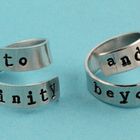 To Infinity and Beyond Rings - Adjustable Twist Aluminum Rings - Handstamped Rings - Valentine's Day Gift