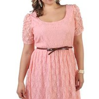plus size lace high low dress with belted bow waist - debshops.com