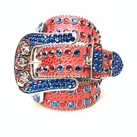 b.b. Simon Skull Red Blue Double Row Swarovski Belt