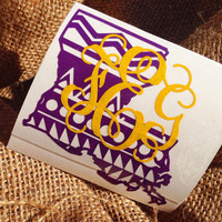 LOUISIANA state Decal State Initials Car Decal Monogram Decal Monogram Vinyl Vinyl Decal Monogram Gift Monogram sticker Car sticker initials