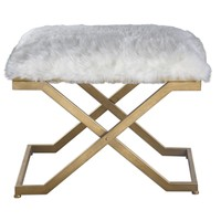 Farran Plush Faux Fur & Antiqued Gold Leaf Small Bench by Uttermost