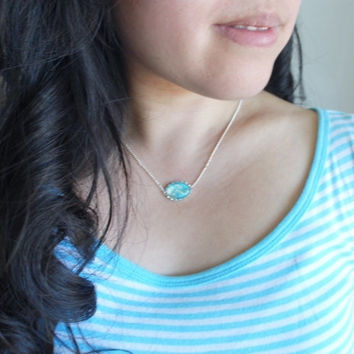 Petite Pressed Flower Necklace Turquoise Aqua Jade White Queen Anne's Lace Real Flower Green Spring Tiny Silver Dainty