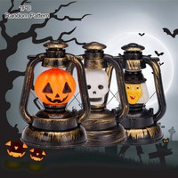 New Skull Witch Portable Lantern Night Light Halloween Home LED Scary Lamp Pumpkin
