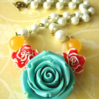 Statement Jewelry Flower Necklace Turquoise Jewelry Bridesmaid Necklace Light Blue Necklace Bridesmaid Gifts Single Strand Red Rose Garden