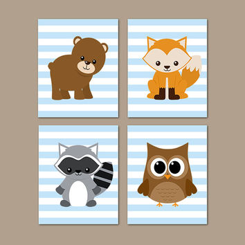 Woodland Nursery Decor, Woodland Animals, Woodland Creatures, Forest Animals, Boy Nursery Art Prints, Bear Owl Fox Set of 4 Prints Or Canvas