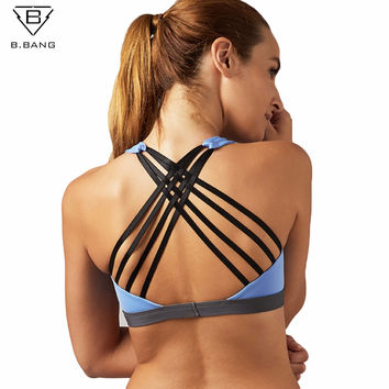 B.BANG Women Sports Bra Yoga Shirt with Padding Push Up Dry Quick Tank Tops For Running Fitness Gym Bras