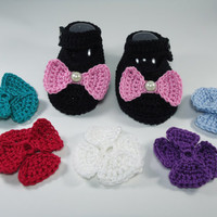 """Crochet Baby shoes, Baby shoes, Custom baby shoes, fashion baby shoes, baby accessories with a 6 set changing bow -Black- Up to 12 cm (4.7"""")"""