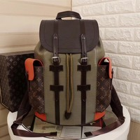 cc auguau LV Backpack Army Orange
