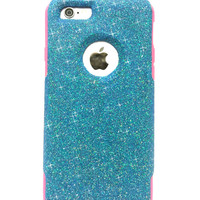 Custom iPhone 6 Plus Glitter Otterbox Commuter Cute Case,  Custom  Glitter  Blue Raspberry / Pink Otterbox Color Cover for iPhone 6 Plus
