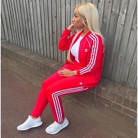Adidas Fashion Letter Long Sleeve Shirt Sweater Pants Sweatpants Set Two-Piece Sportswear