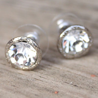 Crystal Studs- Silver