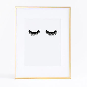 50% OFF eyelashes poster. Printable lashes. Fashion artwork. Instant download.  Lashes print.