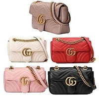 Gucci hot sales fashion women casual double G leather clamshell one-shoulder shopping bag