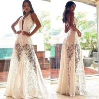 2019 Full Lace White Evening Prom Dresses Formal Illusion Bodice Sexy Open Back A Line Halter Women Party Gowns LLF2124
