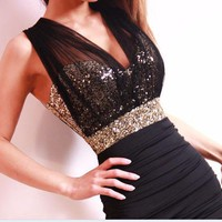 tourtown — Sexy Slim Clubwear Bling Sequins voile backless Mini dress Bodycon Party elegant