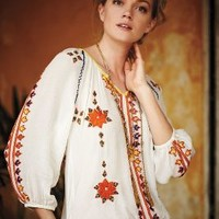 Stitched Dahlia Blouse by Greylin Ivory Xs Tops