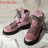 Krazing Pot velvet material shoes pretty handsome girl motorcycle boots round toe Winter neutral punk designer ankle boots L28